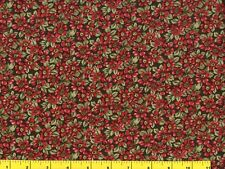 Small Red Flowers on Dark Green Quilting & Sewing Fabric by Yard  #1064