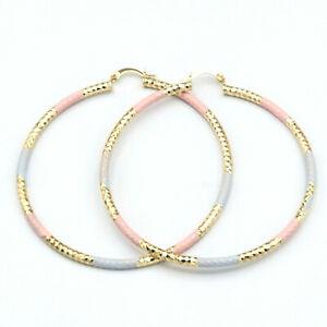 Women's Jewelry 14K Gold Plated DC Hoop Earrings 3mm. Oro laminado