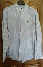 RALPH LAUREN men's  long sleeved shirt XXL blue/white/ black striped cotton.
