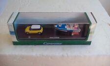 Cararama coche + remolque con lancha, escala 1/72. Mini Cooper+trailer boat