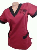 New Women Nursing Scrub Burgundy Black Embroidery Poly/Cotton Top XS S M L XL
