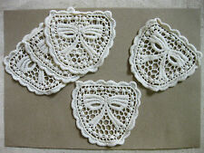 A9 Cream vintage bow ribbon cotton pocket sewing lace patch 8x8.5 cm,2 pieces