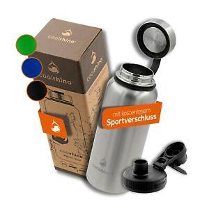 coolrhino® Edelstahl Trinkflasche 1L Isolierflasche Thermoflasche Wasserflasche
