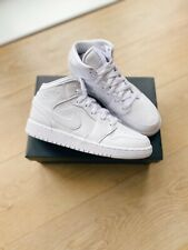 Nike Air Jordan 1 Mid GS Triple White UK 3/US 3.5 *IN HAND READY TO SHIP* 🚚 ✅
