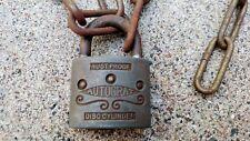 AUTOCRAT Vintage Padlock & Chain steampunk display art decor no key