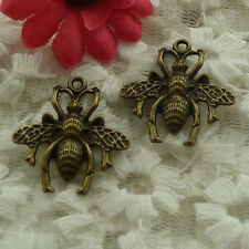 free ship 90 pieces bronze plated bee charms 27x26mm #3003