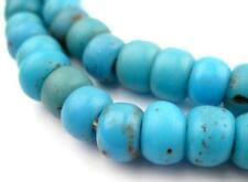 Turquoise Blue Padre Beads 7mm Ethiopia African Round Glass Large Hole Handmade