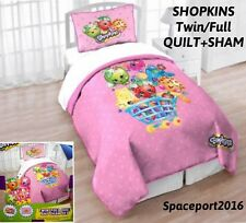 SHOPKINS Toys Twin/Full QUILT + SHAM SET Comforter Girls Bed Room Season 1-2-3-4