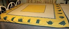 "Yellow & Green,White Kitchen ware Tablecloth ""FELULAR"" 56"" x 57"" Vintage"