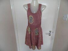 Señoras Marrón Claro Astec Estilo Tie Dye patterne Vestido Talla L
