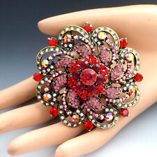 LARGE SPARKLY PINK RED AURORA BOREALIS RHINESTONE TIERED SWIRL FLOWER PIN BROOCH