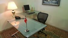 Modern L Shaped Glass Desk