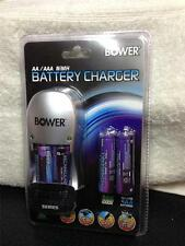 Bower AA/AAA NIMH Charger w/4 AA Batteries & Euro Adapter