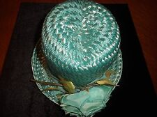 Vintage Old Collectible Ladies Turquoise Hat With Gloves Women's Hats Head Wear