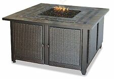 """Uniflame 41"""" Copper Accent Slate Mantel 30 000 BTU LP Patio Deck Firepit"""