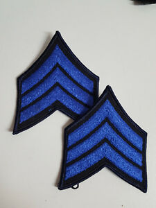 1 PAAR U.S.AUFNÄHER PATCH SERGEANT E-5 RANK POLICE MILITARY FIRE FASCHING BLAU