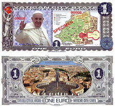 VATICAN CITY 1 Euro Fun-Fantasy Note 2015 Issue SPECIMEN Polymer Pope Francis