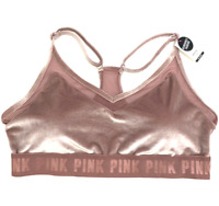 Victorias Secret PINK Velvet Ultimate Unlined Light Support Sports Bra Maroon L