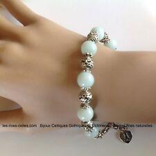 Bracelet perles Amazonite et argent tibétain