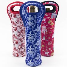 Toile Wine Tote Carrier Bag 3-Pack Insulated Bottle Sleeve