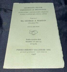 """""""Georgian Silver, Paintings & Drawings"""" 1946 Parke-Bernet Art Auction Catalog"""