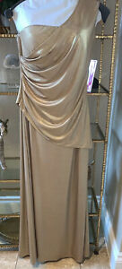 Gold Metallic One Shoulder Formal Dress Gown Ladies Sz 10