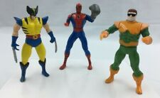 Vintage Toy Biz MARVEL Die Cast Poseable Figures Lot of 3 Spiderman Wolverine
