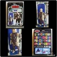 Vintage Star Wars Dengar Figure (1980) Original Blaster Rifle on Modern Re-card.