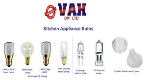 Oven, Fridge, Cooker Hood Lamps 15W, 25W, 40W and Cover, G4 & G9 Halogen