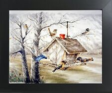 Wild Birds At Feeder Animal Wall Decor Art Contemporary Black Framed Picture