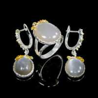 Handmade23ct+ Natural Moonstone 925 Sterling Silver SET  Ring Size 7.75/R112726
