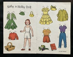 Kathy Paper Doll, 1955, Jack and Jill Magazine, Hobby Doll Series, Janet Smalley