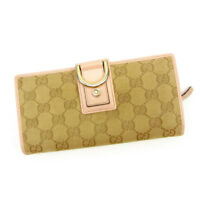 Gucci Wallet Purse Long Wallet GG Pink Beige Woman Authentic Used T3660