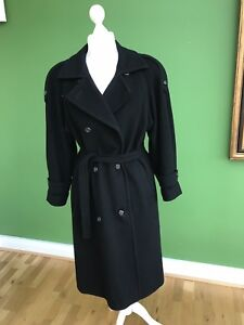 80s Women's Cashmere Wool Long Black Winter Double Breasted Military Coat UK 16