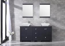 "60"" Bathroom Double Sink Vanity Cabinet White Ceramic Sink Glass Top & Mirror"