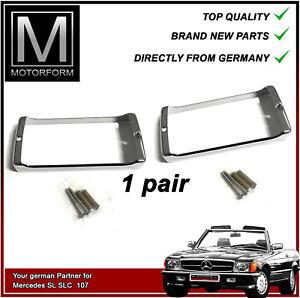 Mercedes 380SL 450SL 560SL fog light chrome frames bezels frame bezel 1 pair NEW