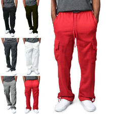 Men Drawstring Elastic Waist Solid Color Pocket Trousers Loose Sweatpants Cargo