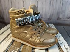 Qupid sneakers womens shoes hi-tops 9 fashion gold hitops