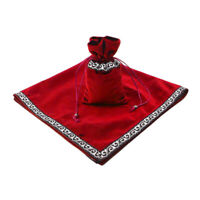 Sparkle Pattern Tarot Cards Bag Velvet Table Cloth Divination Wicca Red