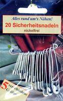 20 Sicherheitsnadeln Verschlussnadeln Nadeln in 5 verschiedenen Größen 11325