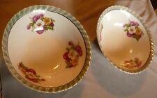 "Floral Lusterware Bowls Red 'Japan' Mark - Vintage 7"" Fluted Round Pair"