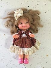 "Vintage Cherry Merry Muffin Doll Chocolottie 6"" with Dress & Bow 1988 Mattel GUC"