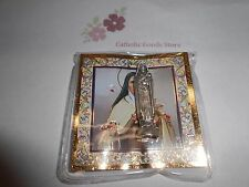 "Saint St. Therese -  1 1/2"" x 3/8""  Silver Tone Metal Pocket Statue w/ case"