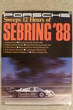 1988 Porsche 962 12 Hours of Sebring Victory Showroom Advertising Poster RARE!!
