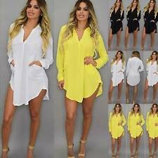 Womens Choker V Neck Long Top T-shirt Ladies Casual Party Mini Dress Blouse