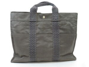 HERMES YELL Line MM Gray Unisex Canvas Tote Bag Pre-owned
