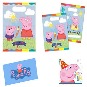 6'' Peppa Pig Theme Party Plastic Loot Bags Peppa Pig on one side & her brother