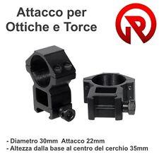 Set 2 Pezzi Attacchi Anelli Ottica o Torcia 30x22 h35 per Fucile slitta Weaver