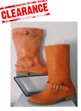 CLEARANCE Womens Mid Calf High Ladies Flat Riding Buckle Boots Uk