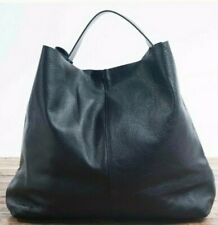 Love Stitch Black Leather Slouchy Hobo Tote Bag